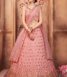 Pink embroidered georgette unstitched lehenga