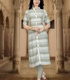 Light-slate-grey printed rayon kurti