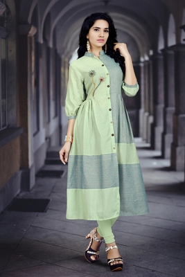 Light-green embroidered cotton poly kurti