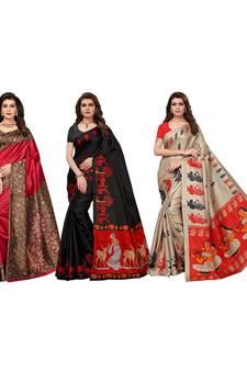 8b5faa3c2cc Progress 4cc28d84d76fcb9210fe43f7ac15eb975cd0845b972ae4a79b1d0ad72de0bd8e.  Combo Of 3 Poly Silk Multicolor Printed Women s Saree. Shop Now
