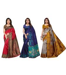 Combo Of 3 Poly Silk Multicolor Printed Women's Saree