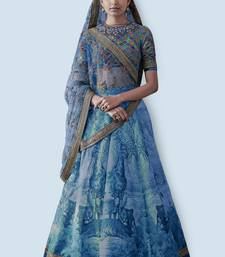 Blue embroidered art silk unstitched lehenga
