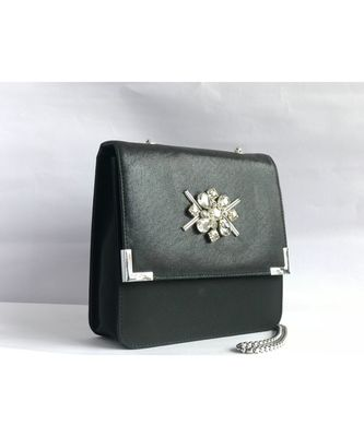 Black Square Embroidered Clutch Sling