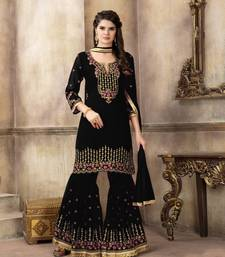Black embroidered faux georgette salwar with dupatta