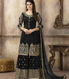 Black embroidered pure viscose salwar with dupatta