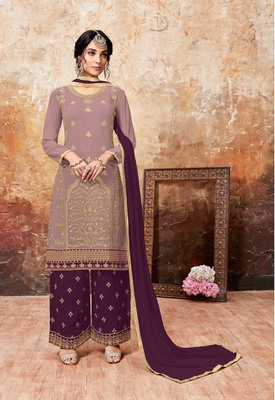 Light-baby-pink embroidered faux georgette salwar with dupatta
