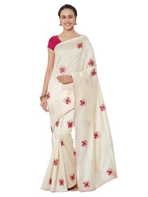 Cream embroidered bhagalpuri silk saree with blouse