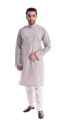 Grey Plain Cotton Kurta Pajama