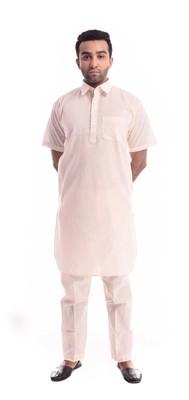 Beige Plain Cotton Pathani Suits