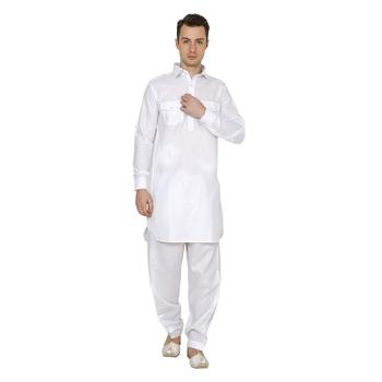 White Plain Cotton Pathani Suits