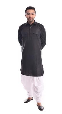Black Plain Cotton Pathani Suits