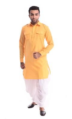 Yellow Plain Cotton Pathani Suits
