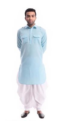 Blue Plain Cotton Pathani Suits