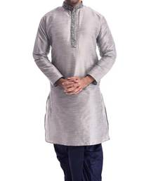 Grey Plain Silk Blend Dhoti Kurta