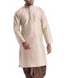 Beige Plain Silk Blend Dhoti Kurta