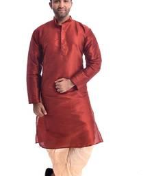 Maroon Plain Silk Blend Dhoti Kurta
