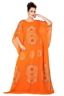Orange embroidered georgette islamic-kaftans