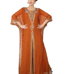 Dark-blood-red embroidered georgette islamic-kaftans