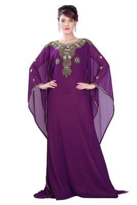 Purple embroidered georgette islamic-kaftans