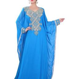 Blue embroidered georgette islamic-kaftans