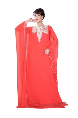 Peach embroidered georgette islamic-kaftans