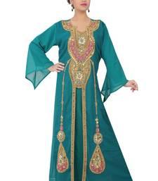 Teal-blue embroidered georgette islamic-kaftans