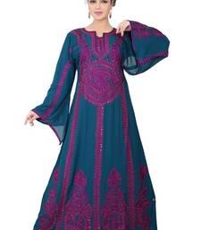 Dark-blue embroidered georgette islamic-kaftans