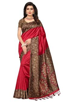 2dd67f81d Red printed poly silk saree with blouse. Shop Now