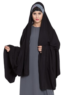 Rayon Black Irani Chadar Rida Hijab With Detachable Nose Piece
