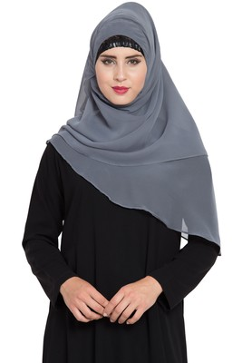 Grey Georgette Ready To Wear Instant Hijab