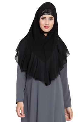 Black Georgette Khimar Ready To Wear Instant Hijab