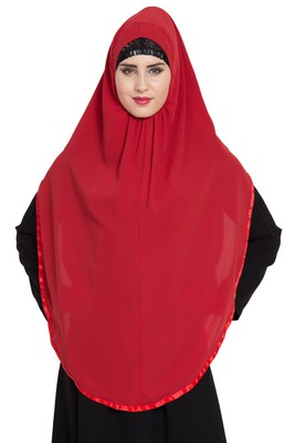 Red Nida Khimar Ready To Wear Instant Hijab