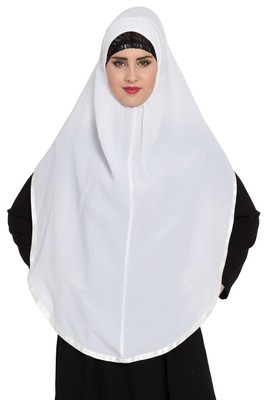 White Nida Khimar Ready To Wear Instant Hijab
