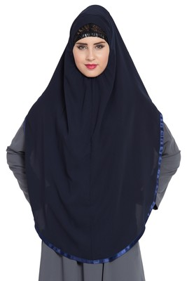 Blue Nida Khimar Ready To Wear Instant Hijab