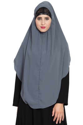 Grey Nida Khimar Ready To Wear Instant Hijab