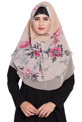 Beige Nida Khimar Ready To Wear Instant Hijab