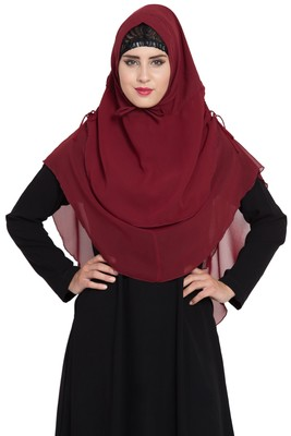 Maroon Georgette Khimar Ready To Wear Instant Hijab