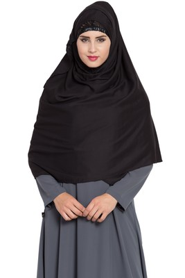 Black Rayon Khimar Ready To Wear Instant Hijab