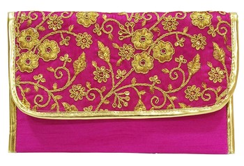 Shree Shyam Products Silk Embroidered Pink Clutch Sling