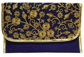Shree Shyam Products Silk Embroidered Blue Clutch Sling