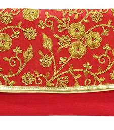 Shree Shyam Products Silk Embroidered Red Clutch Sling