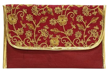 Shree Shyam Products Silk Embroidered Maroon Clutch Sling