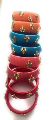 Kepler Fashion Silk Thread Bangle Set Multi Colour
