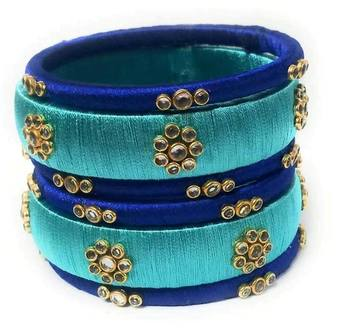 Kepler Fashion Handmade Silk Thread Bangle Set For Party And Festive Wear With Multicolour