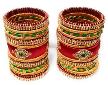 "Kepler Fashion Handicraft Silk Thread Bangle Set For Bridal ,Wedding And Festive Occasion ""Pack Of 26"""