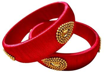 """Kepler Fashion Red  Colour Silk Thread Bangle Set For Girls And Women """"Pack  Of 2"""""""