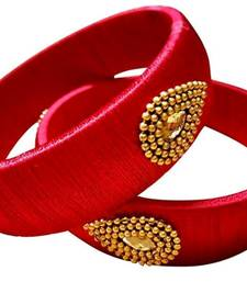 "Kepler Fashion Red  Colour Silk Thread Bangle Set For Girls And Women ""Pack  Of 2"""