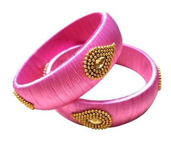 "Kepler Fashion Stylish Silk Thread Bangle For Girls And Women ""Pack Of 2"""