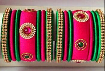 """Kepler Fashion Elegant And Stylish Multicolour Silk Thread Bangle For Girls And Women """"Pack Of 14"""""""