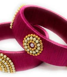 """Stylish And Elegant Pink  Silk Thread Bangle Set For Girls And Women """"Pack Of 2 Pcs"""""""